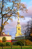 St Petersburg, Russia. Golden spire of Peter and Paul Fortress in St Petersburg, Russia royalty free stock photography
