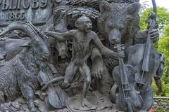 The heroes of Krylov`s fables, on the pedestal of his monument,. St. Petersburg, RUSSIA 17,06,2018 -The heroes of Krylov`s fables, on the pedestal of his royalty free stock images