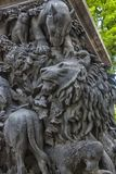 The heroes of Krylov`s fables, on the pedestal of his monument,. St. Petersburg, RUSSIA 17,06,2018 -The heroes of Krylov`s fables, on the pedestal of his royalty free stock photo
