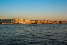 St. Petersburg, Russia. Historical part of the city, Neva river, St. Isaac`s Cathedral, Admiralty. Promenade des Anglais. Historical part of the city, Neva stock image
