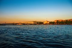 St. Petersburg, Russia. Historical part of the city, Neva river, St. Isaac`s Cathedral, Admiralty. Promenade des Anglais. Historical part of the city, Neva stock photo