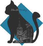 St. Petersburg, Russia. I love St. Petersburg - cute city-view sketch drawn on the grey cat`s silhouette Royalty Free Stock Image