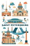St Petersburg, Russia Illustrazione di vettore delle viste della città Fotografie Stock Libere da Diritti