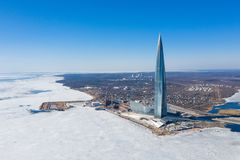 Free ST. PETERSBURG, RUSSIA - JANUARY, 2019: Lakhta Center, The Tallest Skyscraper In Europe. Winter View Shot From A Quadcopter Stock Photo - 162578890