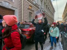 St. Petersburg, Russia, January 31 2021. Anti-corruption protests after Alexei Navalny's arrest on Putin's Palace