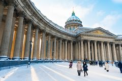 St. Petersburg, Russia - January 28, 2019: Kazan Cathedral in snow on sunny winter day. Winter time stock images