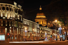 ST. PETERSBURG, RUSSIA, January 7, 2016 - night view of St. Isaa Stock Photography