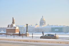 University Embankment and Saint Isaac`s Cathedral in St.Petersburg stock images