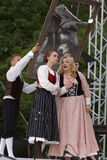 Opera The Marksman outdoors. St. Petersburg, Russia - July 19, 2017: Actors perform the opera The Marksman of C. M. von Weber outdoors during the festival All Stock Photo