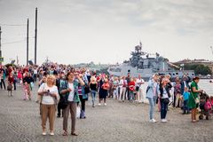 Rehearsal of   parade on   day of   Navy in St. Petersburg. St. Petersburg, Russia - July 30, 2017: Celebration of   parade in honor of   Navy Day on   Neva stock image