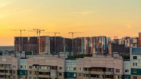 St. Petersburg, Russia - July 24, 2018: City landscape - high-rise buildings on the outskirts of the city at sunset stock photography