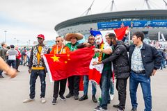 St. Petersburg, Russia - July 10, 2018: fans of different countries are photographed before the match World Cup 2018 royalty free stock images