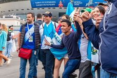 St. Petersburg, Russia - July 10, 2018: fans of different countries are photographed before the match World Cup 2018 stock photo