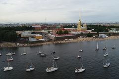 Festival of yachts in St. Petersburg on the river neve. Sailing yachts in the river royalty free stock photography
