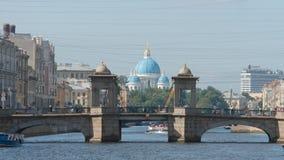 Fontanka River, Lomonosov Bridge and The Trinity Cathedral in the summer Royalty Free Stock Photos