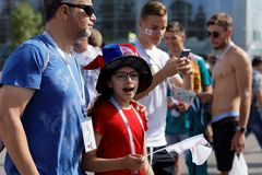 Football fans going to Saint Petersburg stadium during FIFA World Cup Russia 2018 Stock Photos