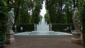 Fountain and antique statues in the Summer Garden in the summer Royalty Free Stock Photos