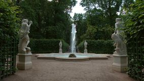 Fountain and female antique statues in the Summer Garden Stock Photography