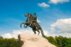 ST. PETERSBURG, RUSSIA - JULY 26, 2015: Monument to Peter the Gr Stock Photos