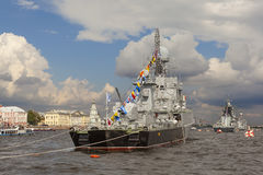ST. PETERSBURG, RUSSIA - JULY 31, 2016: Photo of Warships in the parade on the day of the Navy. Stock Photography