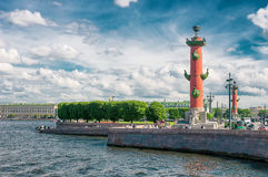 ST. PETERSBURG, RUSSIA - JULY 26, 2015: Rostral columns on the a Stock Photo