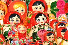 ST. PETERSBURG, RUSSIA - 14 July, 2016: Russian souvenirs. Russian wooden nesting dolls matryoshkas are displayed at a souvenirs m Royalty Free Stock Photography