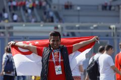 Singapore football fan at Saint Petersburg stadium during FIFA World Cup Russia 2018 stock images