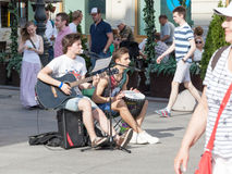 ST.PETERSBURG,RUSSIA-JULY 04:street musicians play on Nevsky Ave Royalty Free Stock Photo