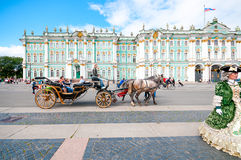ST. PETERSBURG, RUSSIA - JULY 26, 2015:  Tourists in carriage at Stock Images