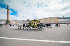ST. PETERSBURG, RUSSIA - JULY 26, 2015:  Tourists in carriage at Royalty Free Stock Photo