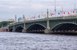 Trinity Bridge decorated with flags in honor of the Russian Navy royalty free stock photo