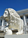 ST. PETERSBURG, RUSSIA - JULY 11, 2014: A white stone lion with Stock Photo