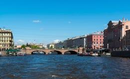 St. Petersburg, Russia - June 04.2017 Anichkov Bridge on Fontanka River Stock Photo