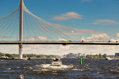 St. Petersburg, Russia - June 28, 2017: Automobile bridge over the bay in St. Petersburg. Stock Photography
