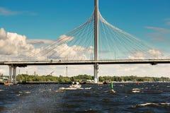St. Petersburg, Russia - June 28, 2017: Automobile bridge over the bay in St. Petersburg. Stock Photos