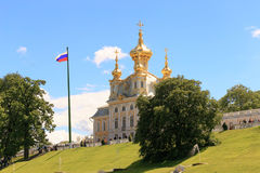 St. Petersburg, Russia - June 28, 2017: a church with golden domes in Peterhof in St. Petersburg. Petersburg. Stock Images