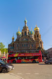 St. Petersburg, Russia - June 04.2017. The Church of Savior on the Spilled Blood and the tourist bus Stock Photo