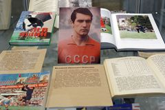 Exhibition Goal!! FIFA World Cups History. St. Petersburg, Russia - June 7, 2018: Exhibition `Goal!!! FIFA World Cups history` in the National Library of Russia Royalty Free Stock Image