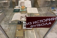 Exhibition Goal!! FIFA World Cups History. St. Petersburg, Russia - June 7, 2018: Exhibition `Goal!!! FIFA World Cups history` in the National Library of Russia Stock Images
