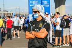 St. Petersburg, Russia - June 26, 2018: Disappointed supporter of Argentina national football team. royalty free stock images