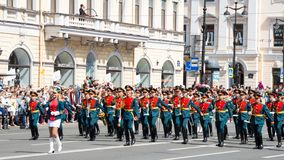 St. Petersburg, Russia-June 12, 2019. Flower festival . Nevsky prospect. Many people came to the festival. Military band stock photos
