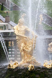 St. Petersburg, RUSSIA-JUNE 03, 2017. Fountains of the Big cascade in Peterhof. Royalty Free Stock Images