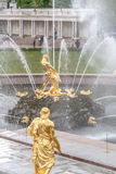 St. Petersburg, RUSSIA-JUNE 03, 2017. Fountains of the Big cascade in Peterhof. Stock Photography
