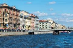 St. Petersburg, Russia - June 04.2017. Gorstkin Bridge and the Fontanka River Embankment Royalty Free Stock Photo
