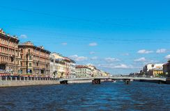St. Petersburg, Russia - June 04.2017. Gorstkin Bridge and the Fontanka River Embankment Stock Photos