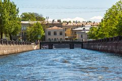 St. Petersburg, Russia - June 4 2017. Kryukov canal, Smezny bridge and a psychiatric hospital number 5 Royalty Free Stock Photos