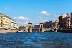 St. Petersburg, Russia - June 04.2017 Lomonosov Bridge on Fontanka River Royalty Free Stock Photo