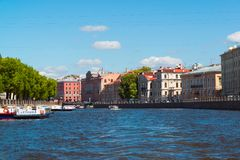 St. Petersburg, Russia - June 04.2017. Old manors of 19th century on Fontanka River Embankment Royalty Free Stock Images
