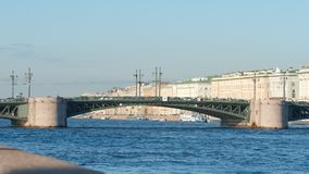 Palace Bridge and the Neva river in the summer Stock Image