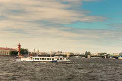 St. Petersburg, Russia - June 28, 2017: Panoramic view of the Neva River embankment in St. Petersburg. Royalty Free Stock Images